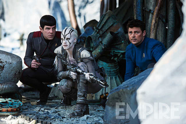Zachary Quinto, Sofia Boutera and Karl Urban in Star Trek Beyond