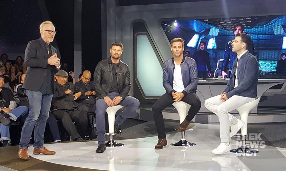 Members of the cast of Star Trek Beyond — Karl Urban, Chris Pine & Zachary Quinto (photo: Anna Yeutter/TrekNews.net)