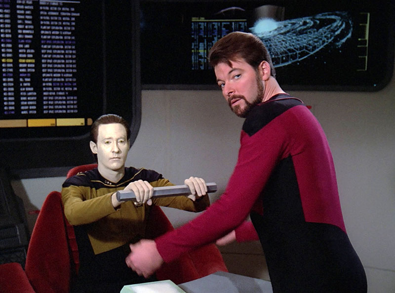 """Brent Spiner and Jonathan Frakes in """"Measure of a Man"""" from Star Trek: The Next Generation"""