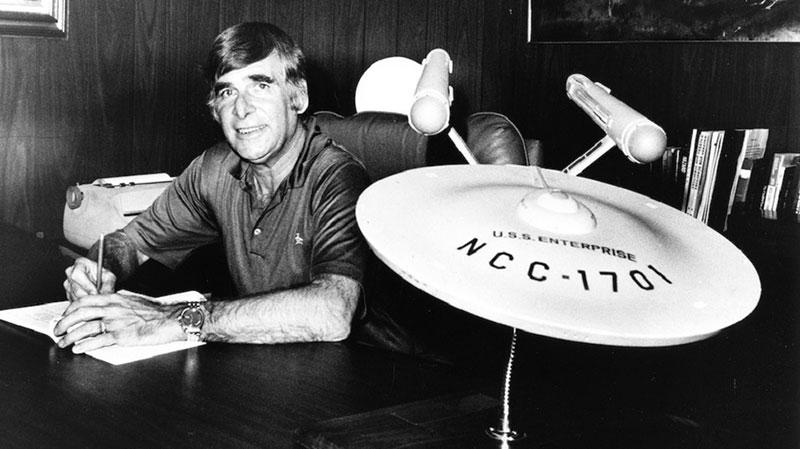 Gene Roddenberry at his desk