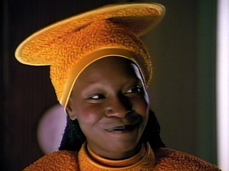 Goldberg as Guinan on Star Trek: The Next Generation (CBS Home Entertainment)