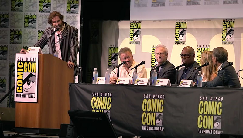 Fuller on stage with former Star Trek actors William Shatner, Brent Spiner, Michael Dorn, Jeri Ryan and Scott Bakula at San Diego Comic Con in July (photo: YouTube)