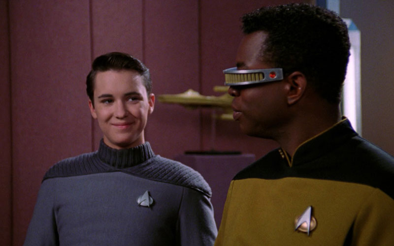 Wil Wheaton and LeVar Burton on the set of Star Trek: The Next Generation