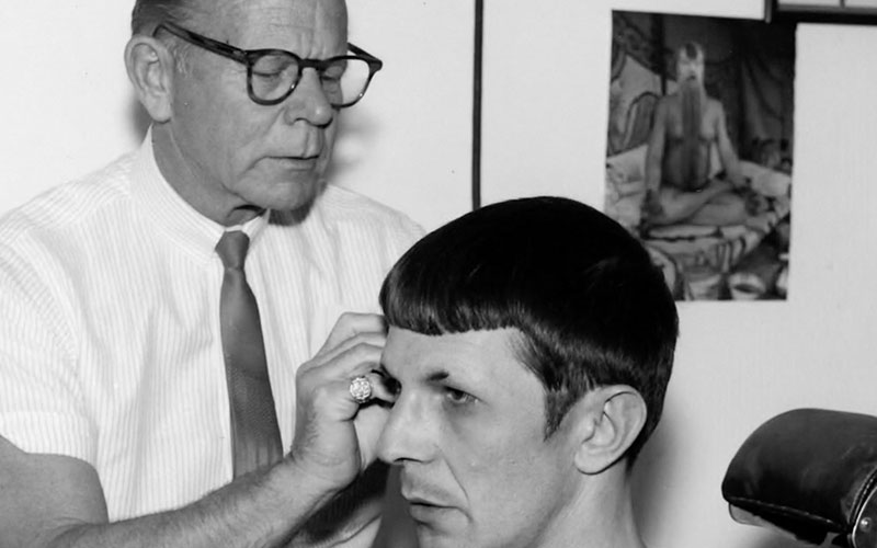Nimoy having the Spock ears applied prior to shooting an episode of Star Trek
