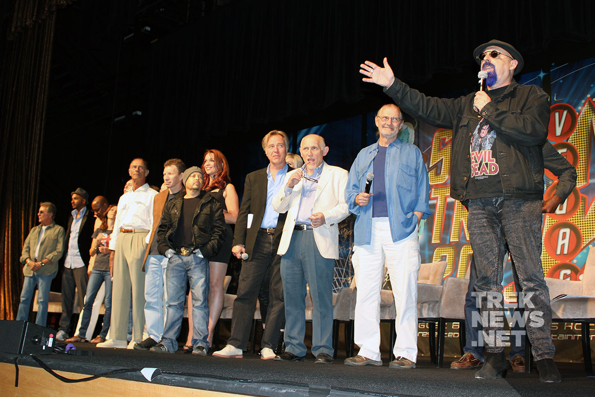 Ira Steven Behr and the cast of Deep Space Nine during an on-stage reunion in Las Vegas in 2013