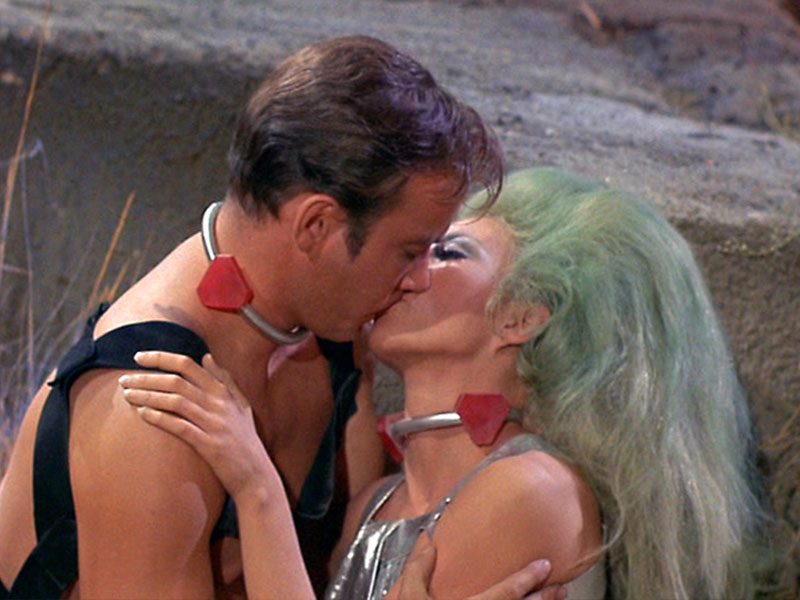"William Shatner as Kirk and Angelique Pettyjohn as Shahna in The Original Series episode ""The Gamesters of Triskelion"""