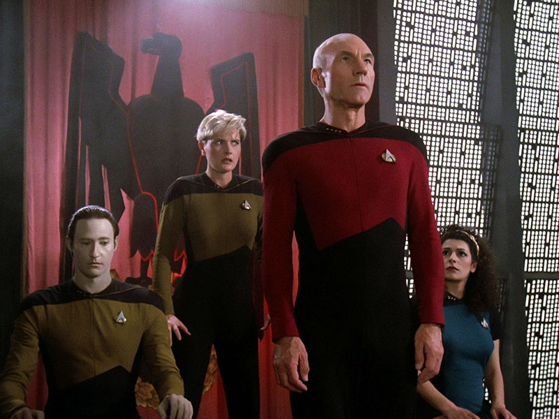 "A scene from Star Trek: The Next Generation series premiere ""Encounter at Farpoint"""