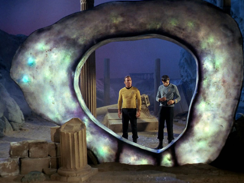 Kirk and Spock at the Guardian of Forever