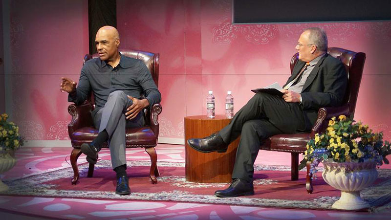 "Michael Dorn with Orlando Shakespeare Theater art director Jim Helsinger during ""An Evening With Michael Dorn."""
