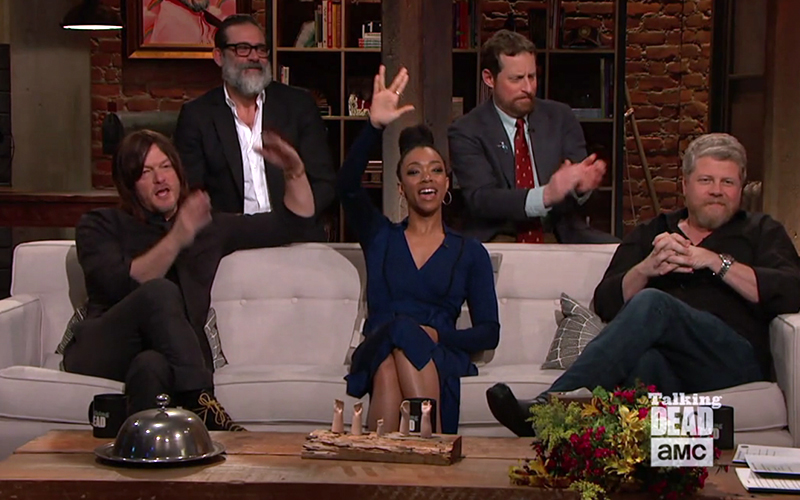 "Martin-Green throws up a Vulcan salute on the mid-season finale of ""Talking Dead"""