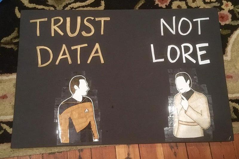 Trust Data, Not Lore sign