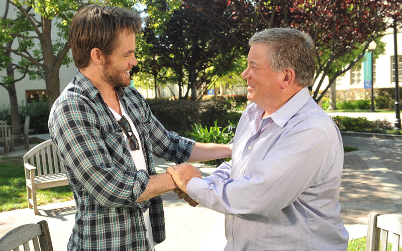 "Shatner with Chris Pine, while filming the documentary ""The Captains"""