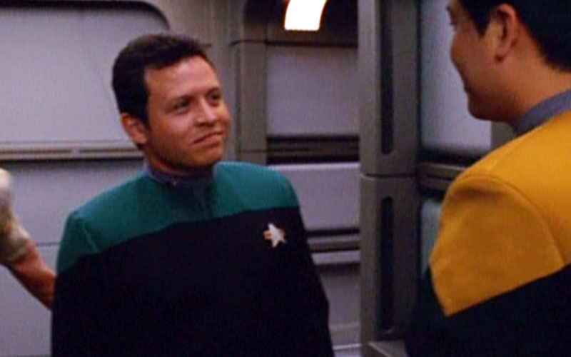 King Abdullah of Jordan on the set of Star Trek: Voyager with Garrett Wang