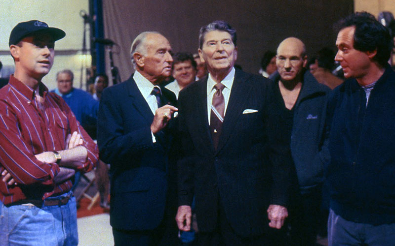 President Ronald Reagan visiting the set of Star Trek: The Next Generation