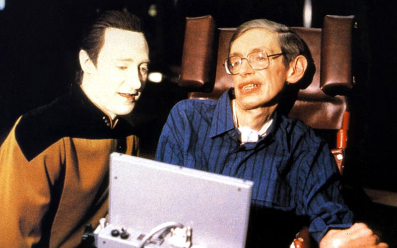 Professor Stephen Hawking with Brent Spiner on the set of Star Trek: The Next Generation
