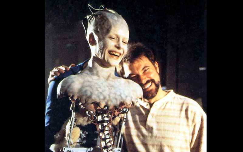 Frakes with Alice Krige on the set of 1996's Star Trek: First Contact, which he directed.