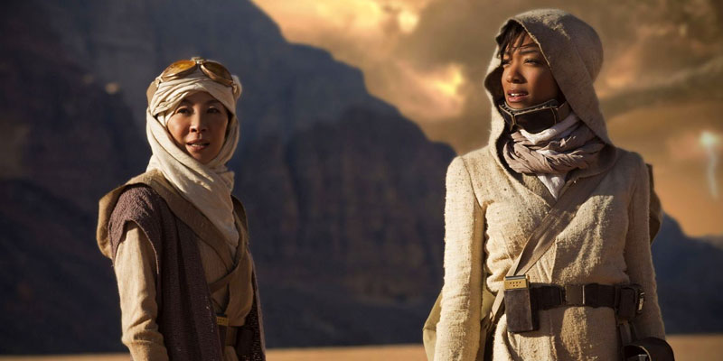 Michelle Yeoh as Shenzhou  Captain Philippa Georgiou and Sonequa Martin-Green as Discovery's First Officer Michael Burnham