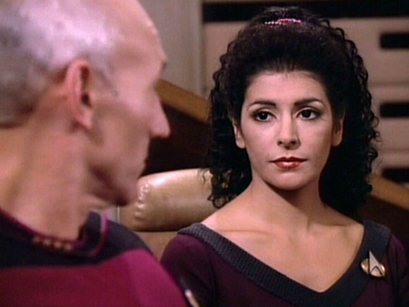 Sirtis with Patrick Stewart on TNG