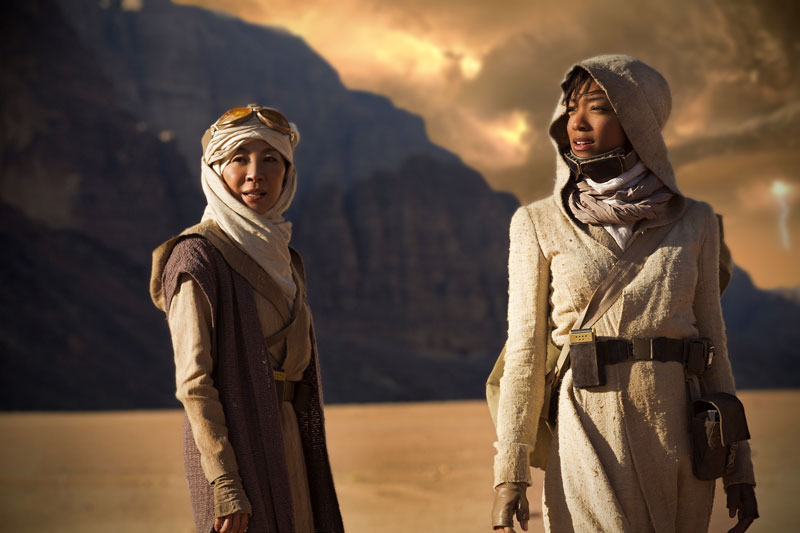 Michelle Yeoh as Captain Philippa Georgiou and Sonequa Martin-Green as First Officer Michael Burnham