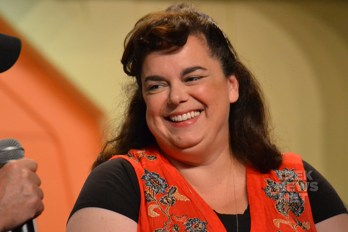 Star Trek: Discovery writer Kirsten Beyer on stage in Las Vegas