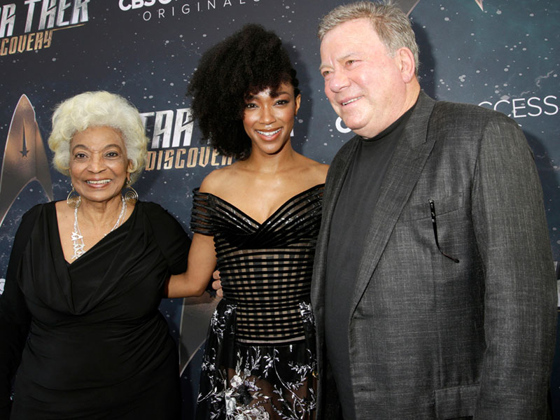 Nichelle Nichols, Sonequa Martin-Green and William Shatner