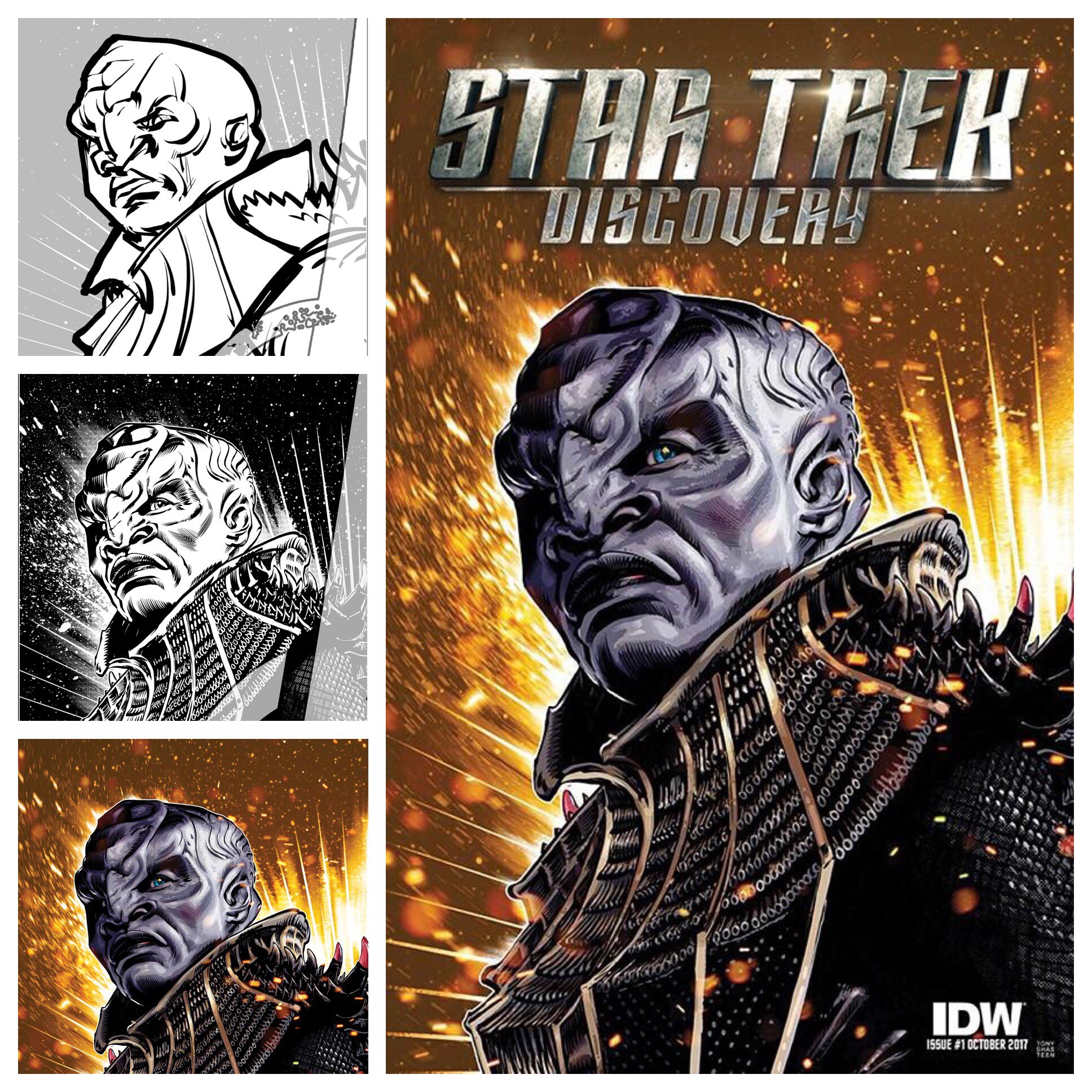 Shasteen's process for creating the cover for  the new Star Trek: Discovery comic book