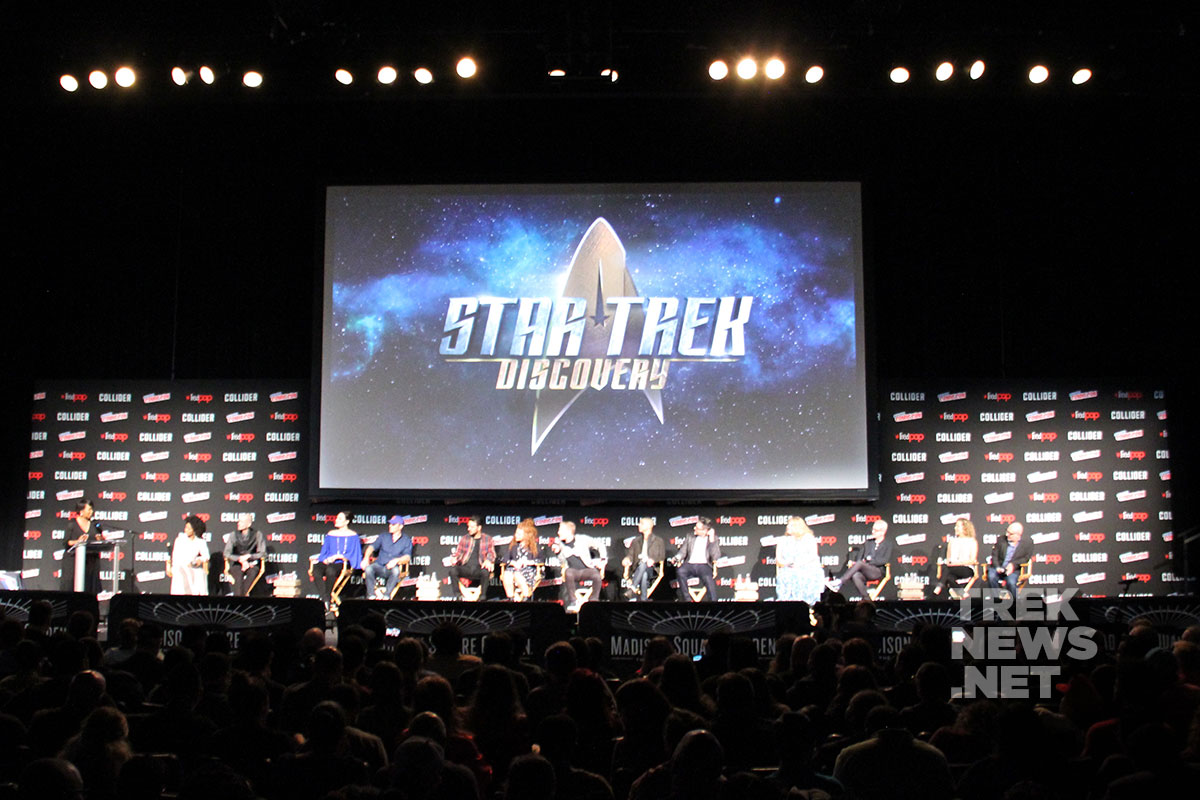 Members of the Star Trek: Discovery cast and crew on stage at the Theater at Madison Square Garden in New York City