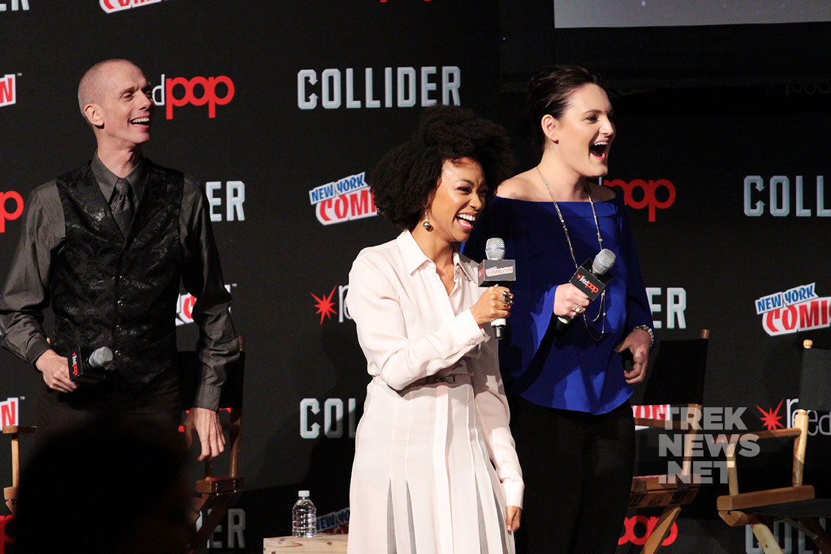 Doug Jones, Sonequa Martin-Green and Michelle Yeoh surprised by Michelle Yeoh