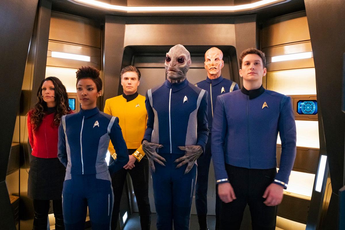 Rachael Ancheril as Lt. Nhan, Sonequa Martin-Green as Michael Burnham, Anson Mount as Captain Pike, David Benjamin Tomlinson as Linus, Doug Jones as Saru and Sean Connolly Affleck as Lt. Connolly