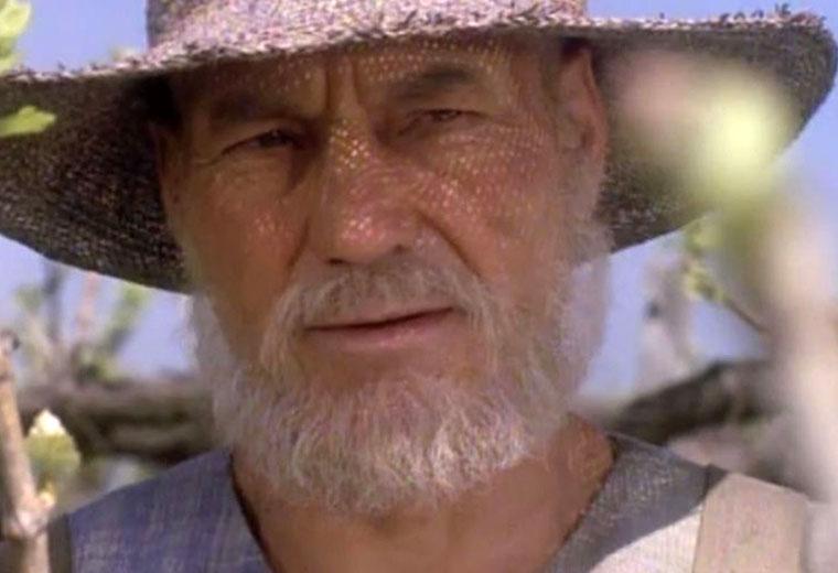 "Stewart as an older Picard in ""All Good Things..."""