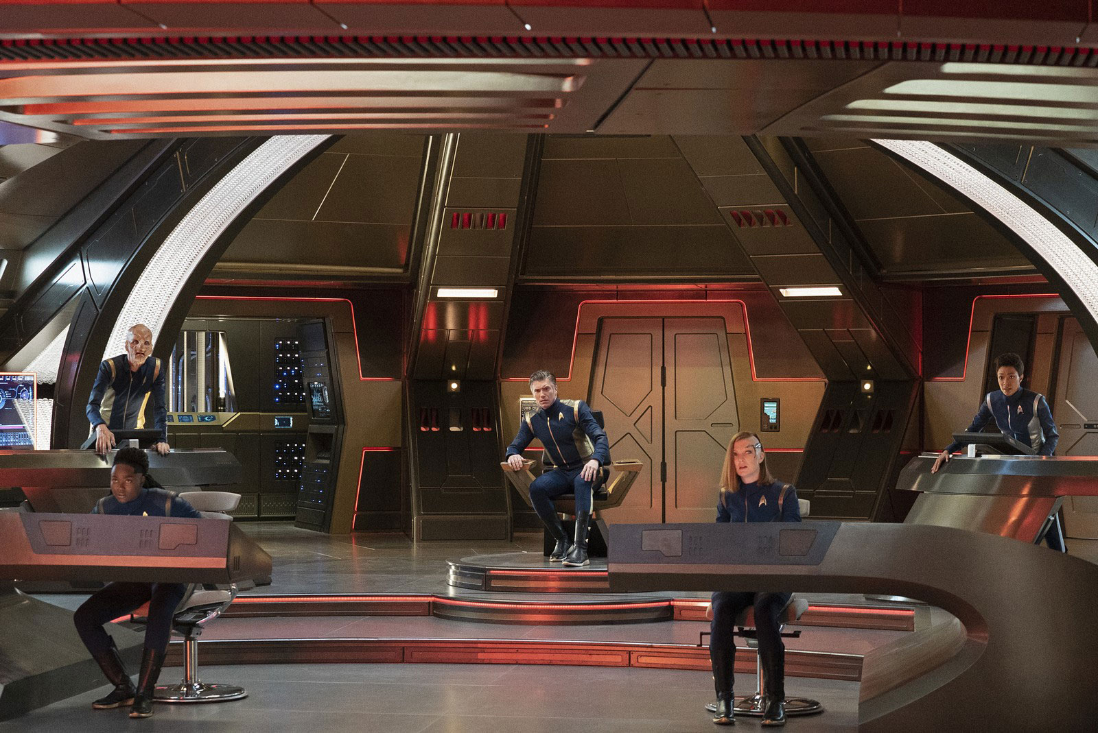 Oyin Oladejo as Joann Owosekun, Doug Jones as Saru, Anson Mount as Captain Pike, Emily Coutts as Keyla Detmer and Sonequa Martin-Green as Burnham