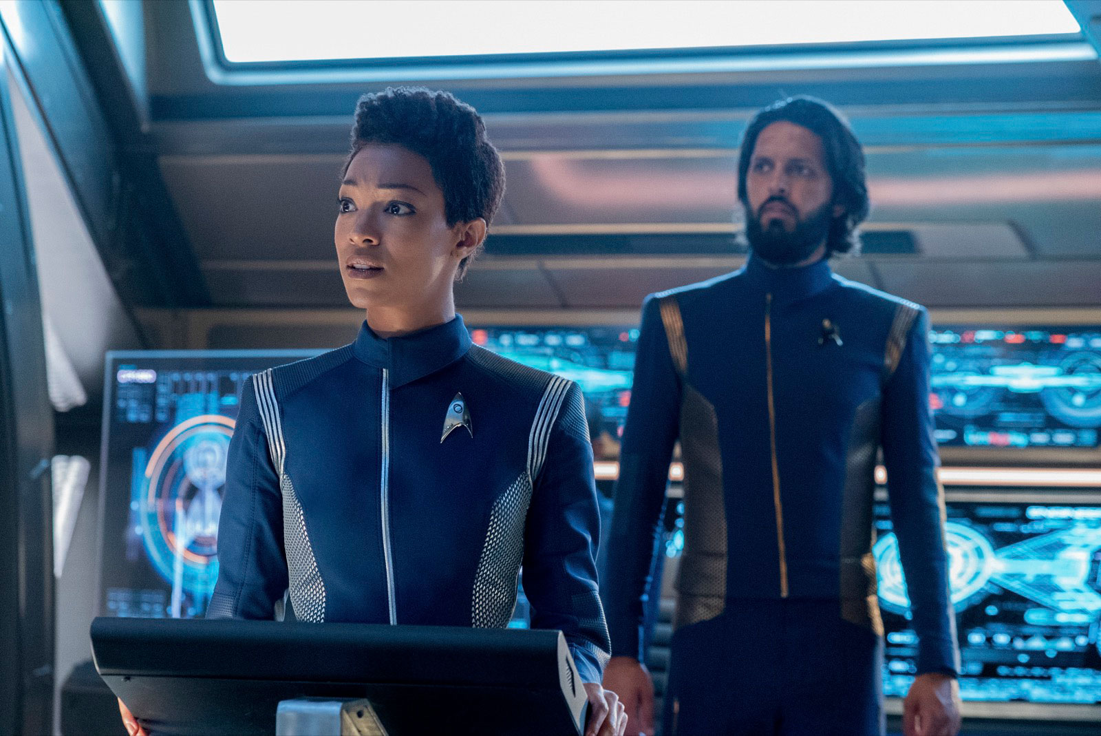 Sonequa Martin-Green as Michael Burnham and Shazad Latif as Ash Tyler