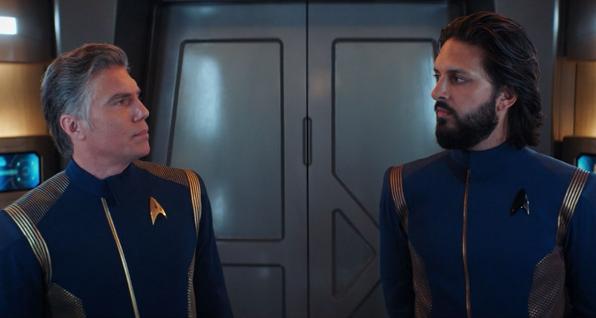 Anson Mount as Christopher Pike and Shazad Latif as Ash Tyler