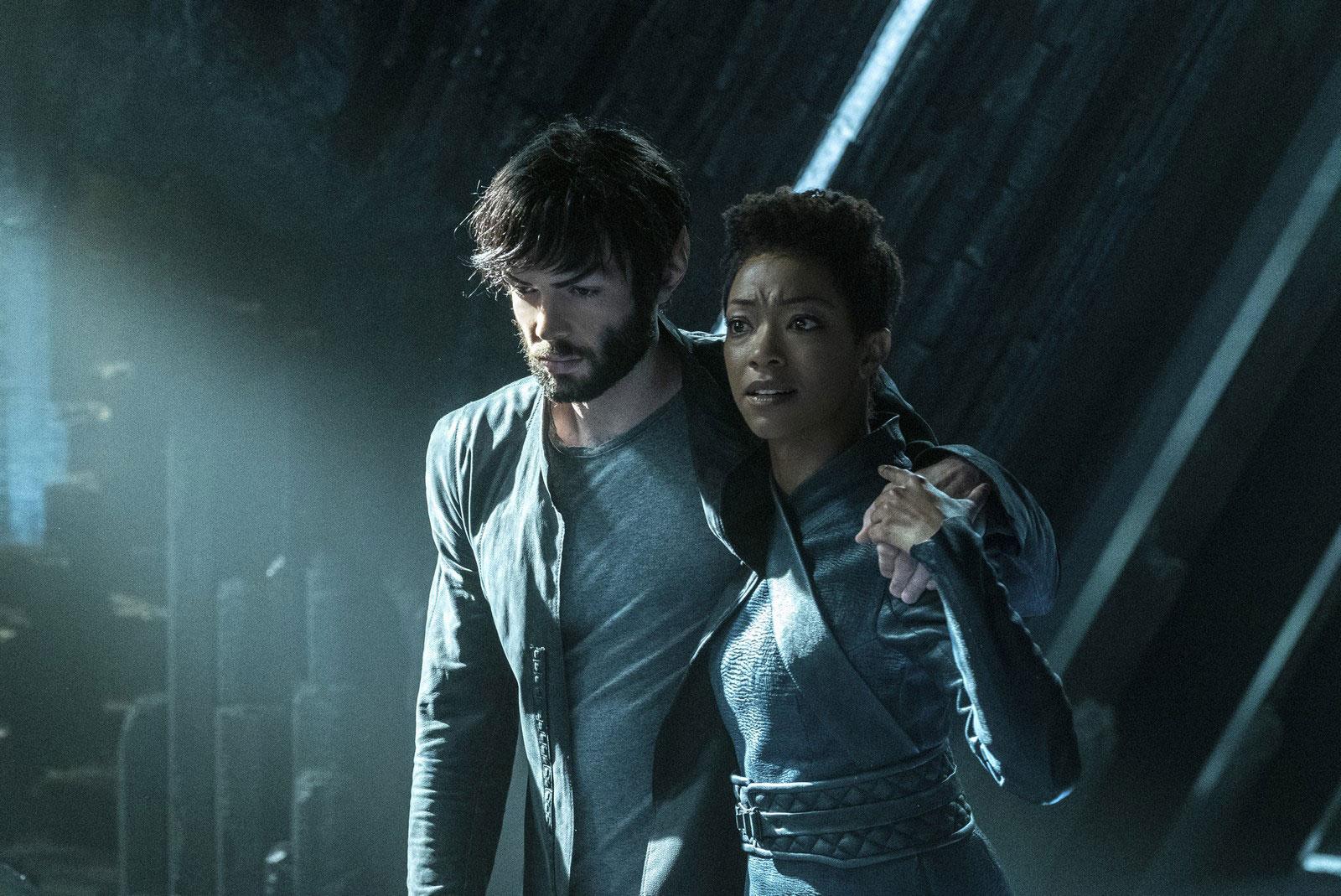 Ethan Peck as Spock and Sonequa Martin-Green as Michael Burnham