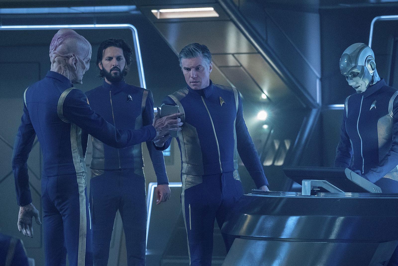 Doug Jones as Saru,  Shazad Latif as Ash Tyler and Anson Mount as Christopher Pike