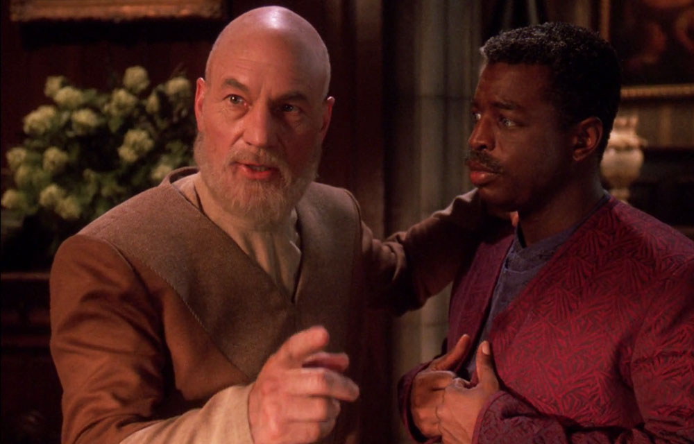 "Stewart as Jean-Luc Picard in the Star trek: TNG finale ""All Good Things"""