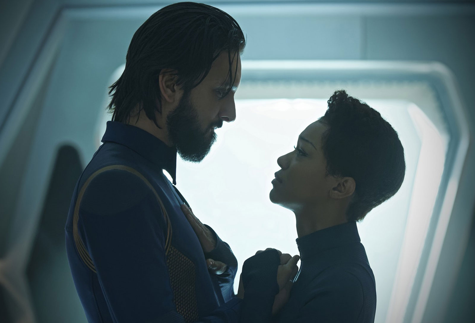 Shazad Latif as Tyler and Sonequa Martin-Green as Michael Burnham