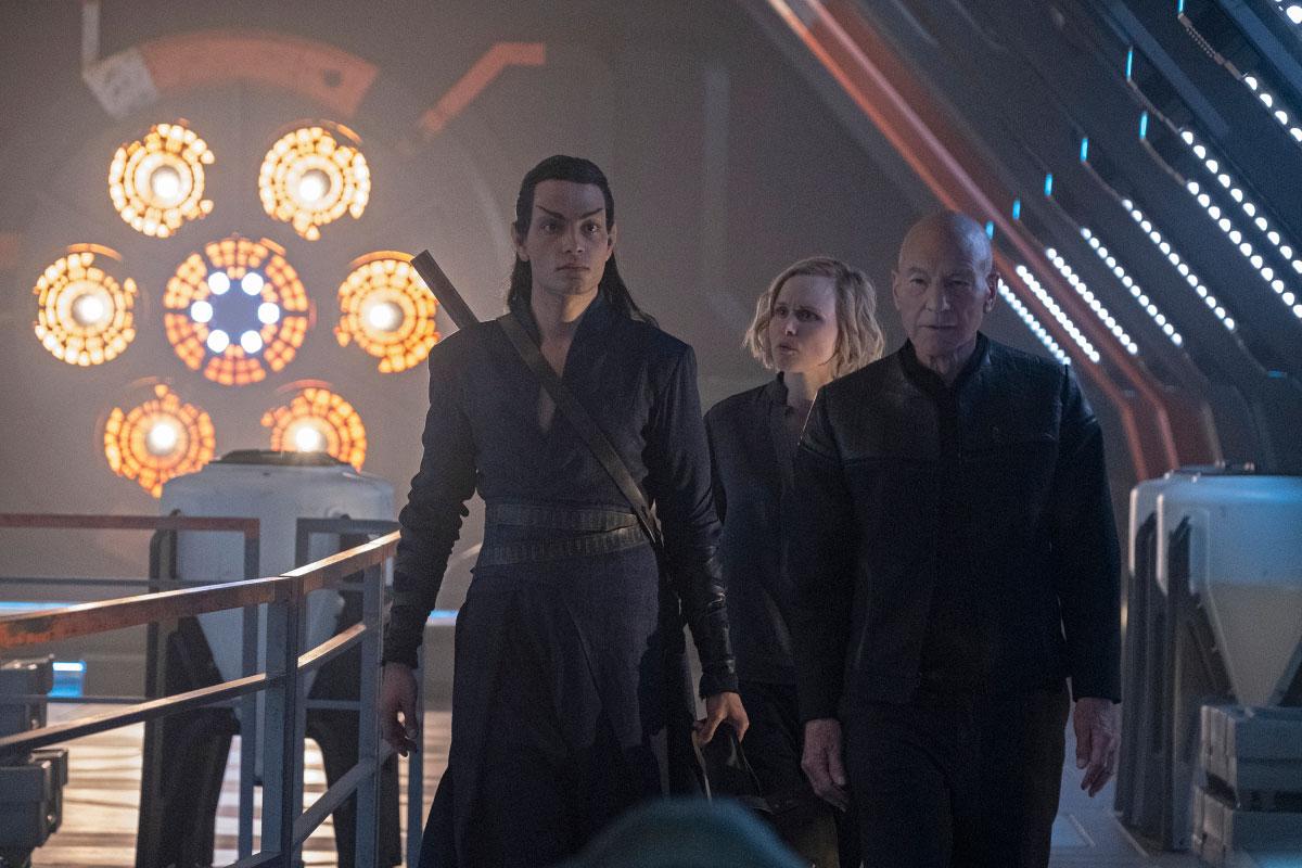 Evan Evagora as Elnor, Alison Pill as Dr. Jurati and Patrick Stewart as Jean-Luc Picard