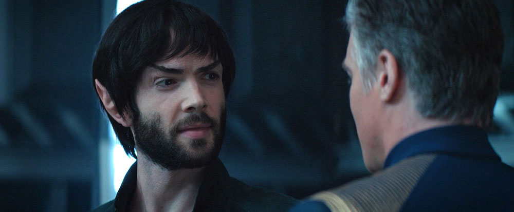 Ethan Peck as Spock, with Anson Mount as Captain Pike, on Star Trek: Discovery