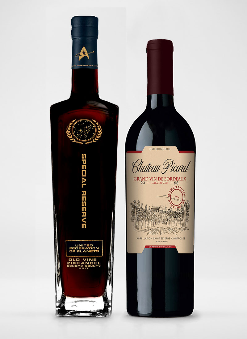 Château Picard Cru Bourgeois Bordeaux and United Federation of Planets Old Vine Zinfandel bottles