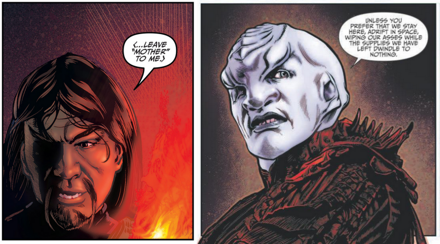 Lettering for Klingon dialog in Discovery: Aftermath #1 v/s lettering for Klingon dialog in Light of Kahless