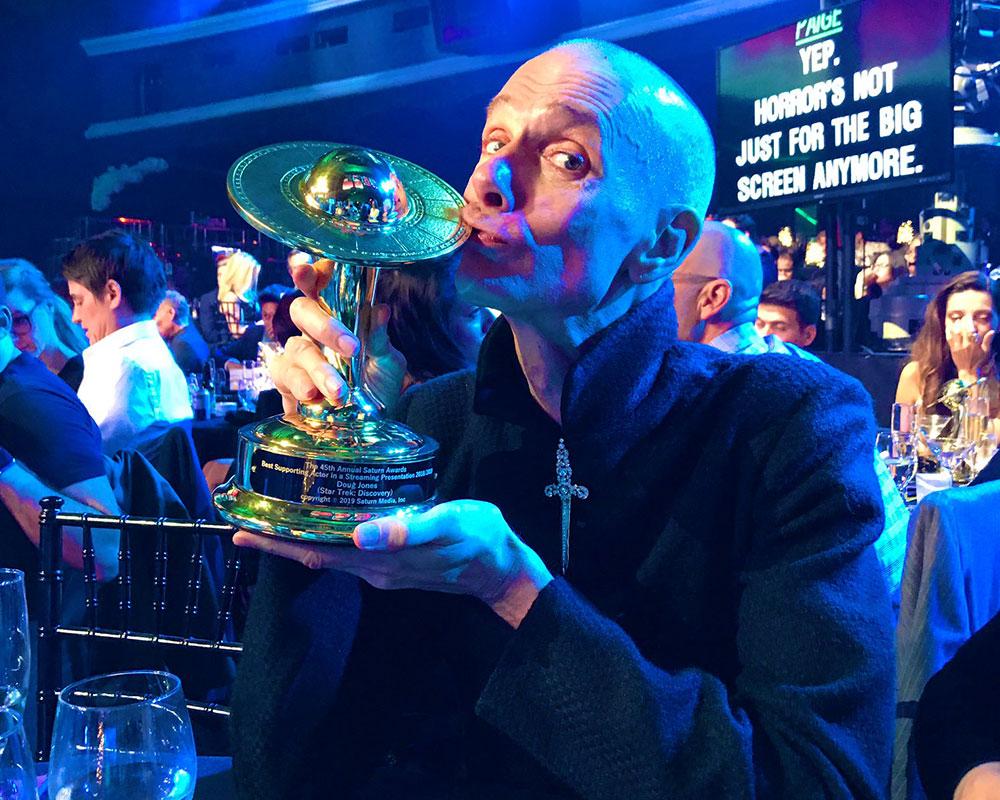 Doug Jones with his Saturn Award