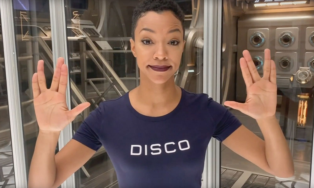 From the set of Star Trek: Discovery season three, Sonequa Martin-Green accepts the award for Best Actress in a Streaming Presentation