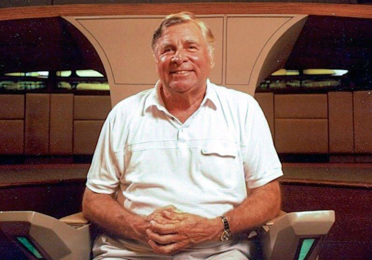 Star Trek creator Gene Roddenberry on the set of Star Trek: The Next Generation